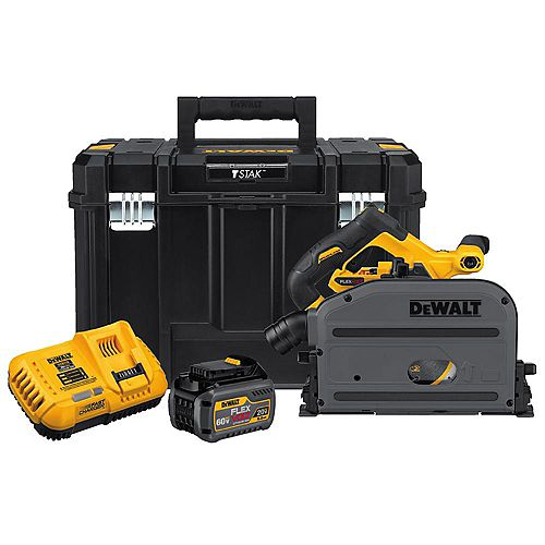 FLEXVOLT 60V MAX Lithium-Ion Cordless Brushless 6-1/2-inch Track Saw Kit with Battery 2Ah, Charger and Case