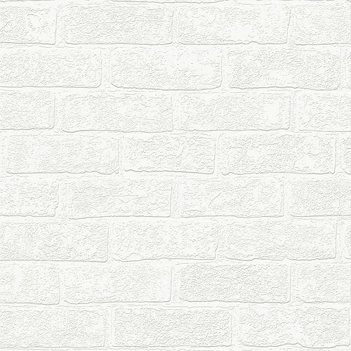 Urban Brick Paintable White Wallpaper