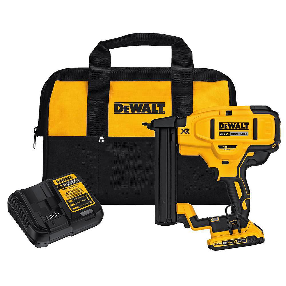 DEWALT 20V MAX XR Lithium-Ion Cordless 18-Gauge Narrow Crown Stapler Kit with Battery 2Ah, Charger and Contractor Bag