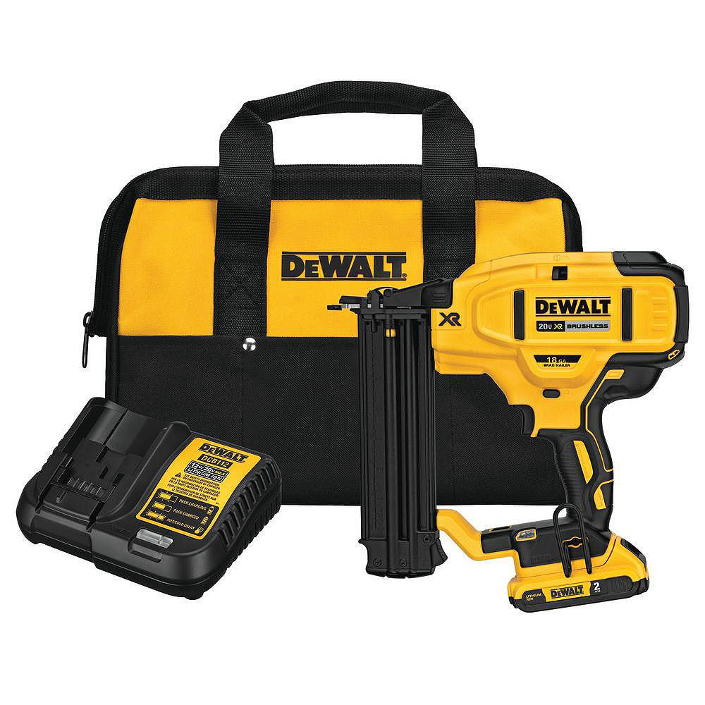 DEWALT 20V MAX Lithium-Ion 18-Gauge Cordless Brad Nailer Kit with Battery, Charger and Bag