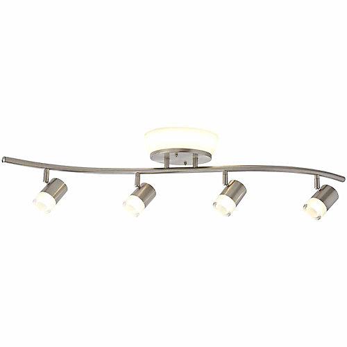 Rail d'éclairage à DEL intégré à 4 projecteurs, 2,85 pi, fini nickel brossé avec plafonnier