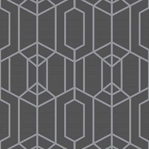 Albany Geo Charcoal/Silver Wallpaper
