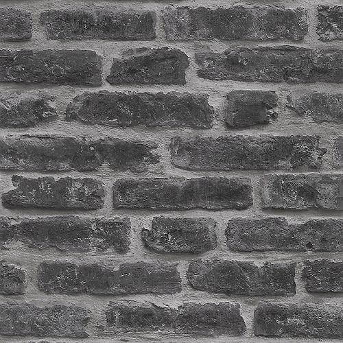 Industry Brick Black/Grey Wallpaper