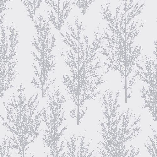Papier peint arbres, gris