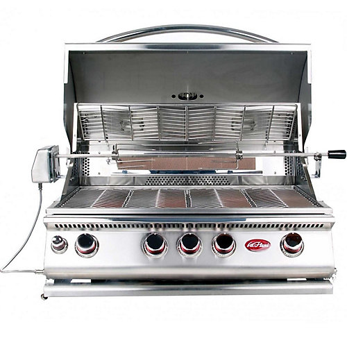 4-Burner Built-In Stainless Steel Propane Convection BBQ with Infrared Rotisserie