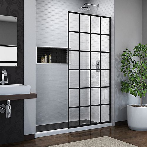 French Linea Toulon 34-inch x 72-inch Frameless Rectangular Shower Door in Patterned Glass