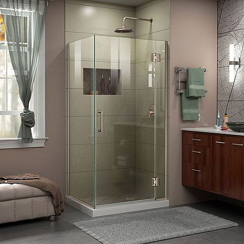 DreamLine Unidoor-X 36-3/8-inch x 34-inch x 72-inch Frameless Hinged Shower Enclosure in Brushed Nickel