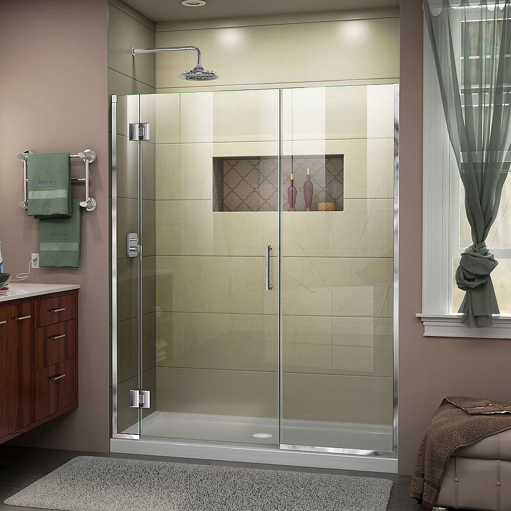 DreamLine Unidoor-X 62-inch x 72-inch Frameless Rectangular Pivot/Hinged Clear Shower Door with Chrome Accents