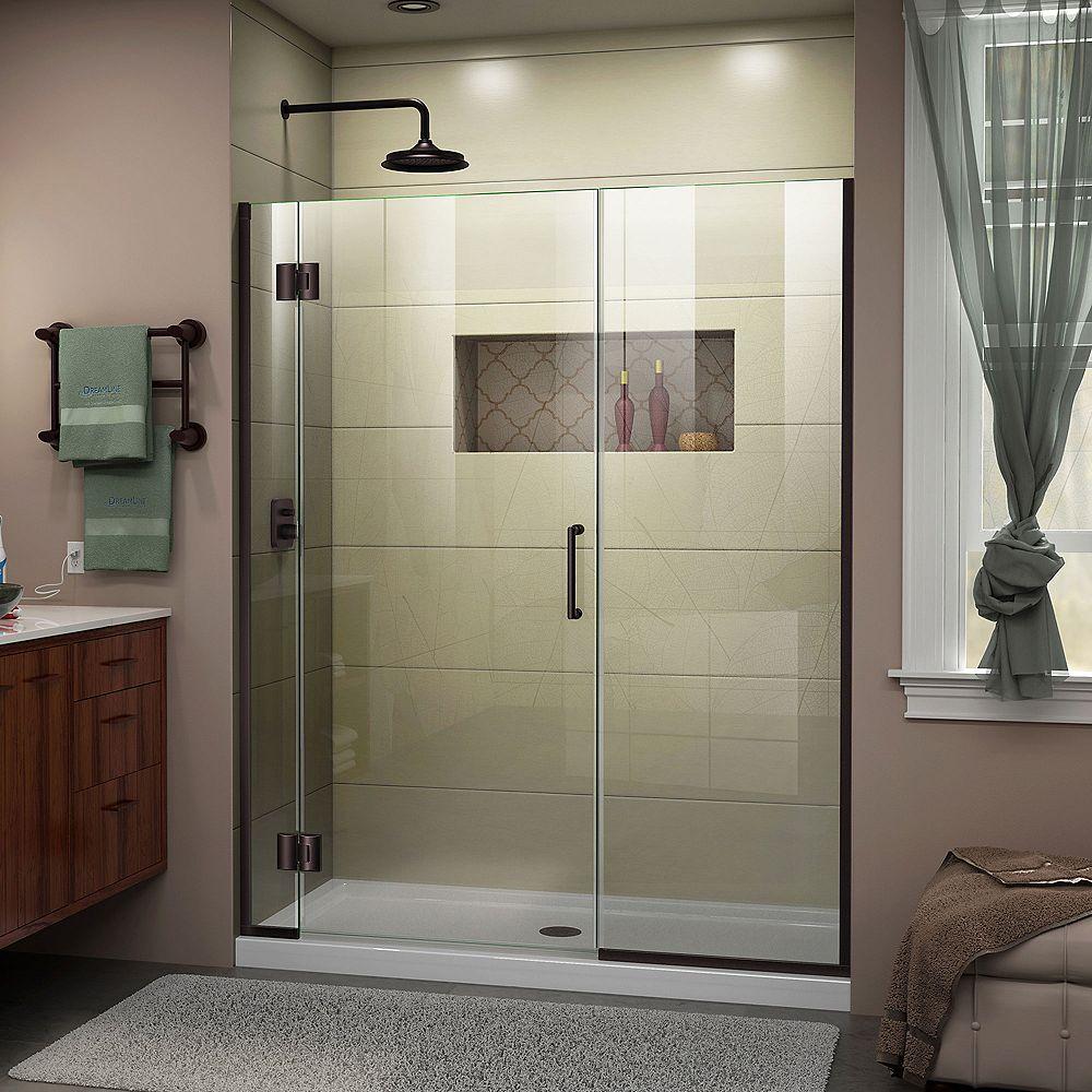 DreamLine Unidoor-X 55-inch x 72-inch Frameless Rectangular Pivot/Hinged Clear Shower Door with Bronze Accents