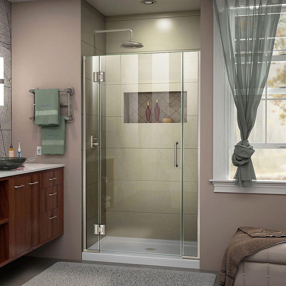 DreamLine Porte de douche Articulée sans Cadre Unidoor-X 39 1/2 - 40 x 72 po. Nickel Brossé