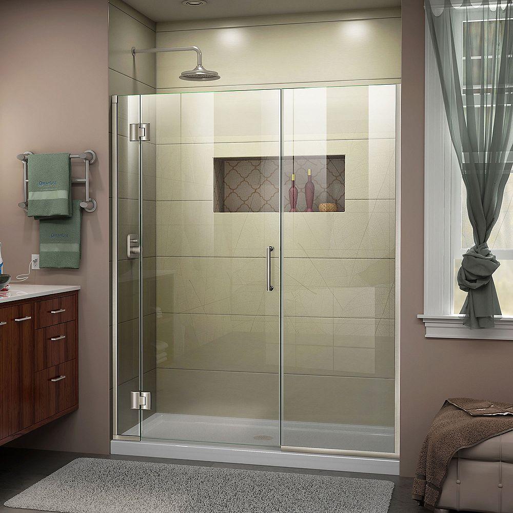 DreamLine Unidoor-X 58-inch x 72-inch Frameless Rectangular Clear Shower Door with Brushed Nickel Hardware