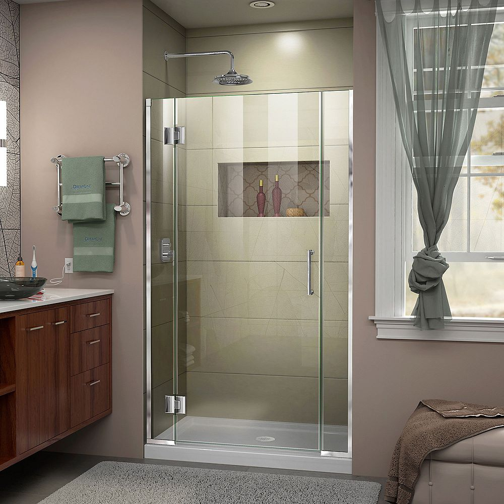 DreamLine Unidoor-X 43-inch x 72-inch Frameless Rectangular Pivot/Hinged Clear Shower Door with Chrome Accents