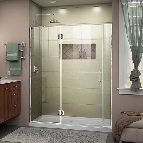 DreamLine Unidoor-X 58-inch x 72-inch Frameless Rectangular Pivot/Hinged Clear Shower Door with Chrome Accents