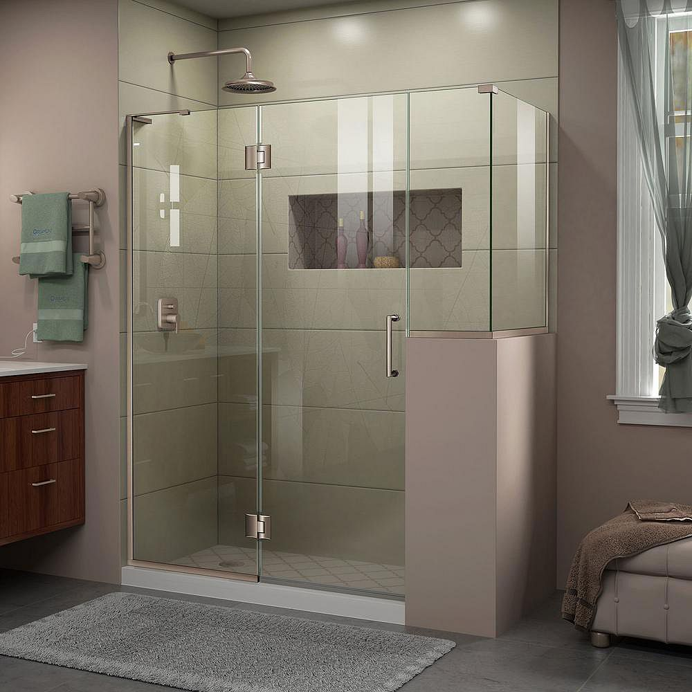 DreamLine Unidoor-X 60-inch x 36-3/8-inch x 72-inch Frameless Hinged Shower Enclosure in Brushed Nickel