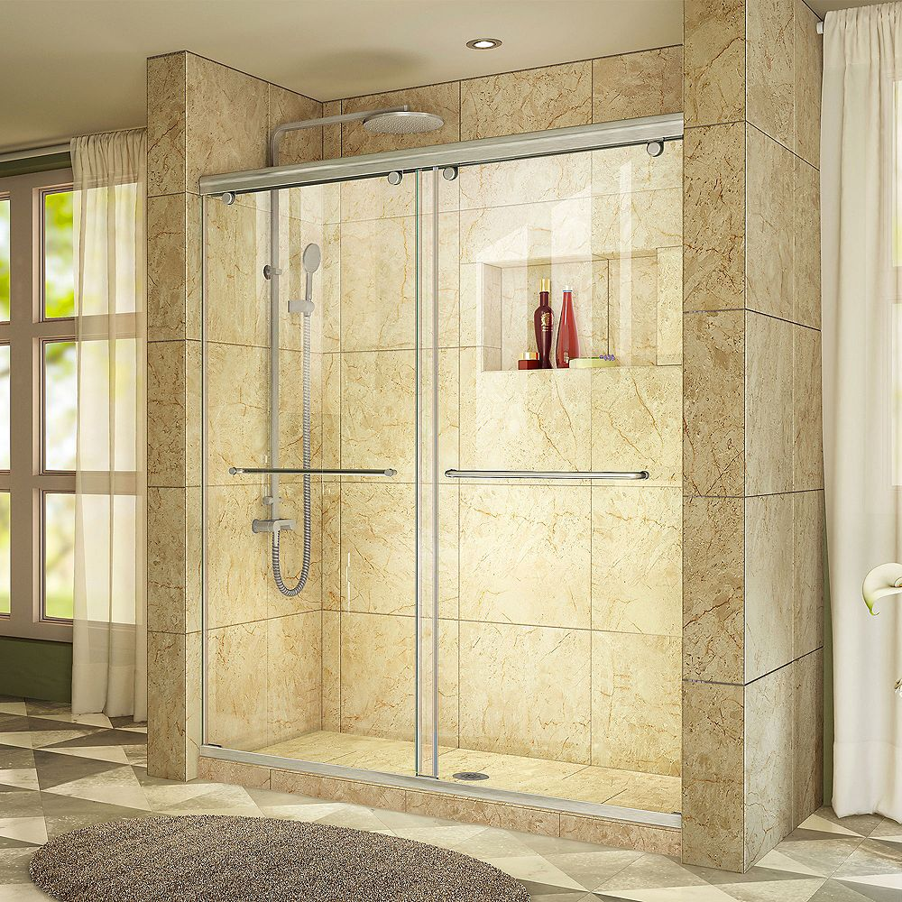 DreamLine Charisma 48-inch x 76-inch Frameless Rectangular Sliding Shower Door in Glass with Brushed Nickel