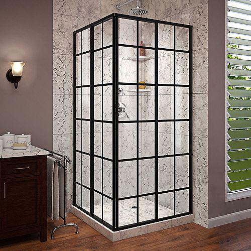 French Corner 34-1/2-inch x 34-1/2-inch x 72-inch Framed Sliding Shower Enclosure in Satin Black