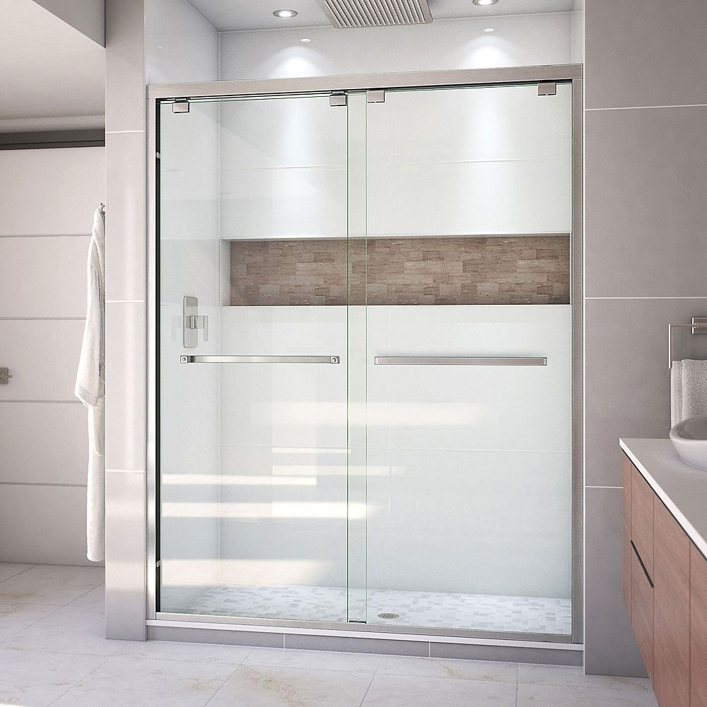 DreamLine Encore 60-inch x 76-inch Frameless Rectangular Sliding Shower Door in Glass with Brushed Nickel
