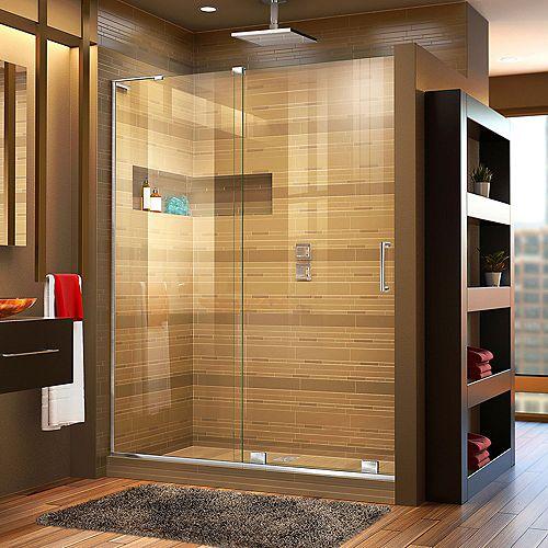 DreamLine Mirage-X 48-inch x 72-inch Frameless Rectangular Sliding Clear Shower Door with Chrome Hardware