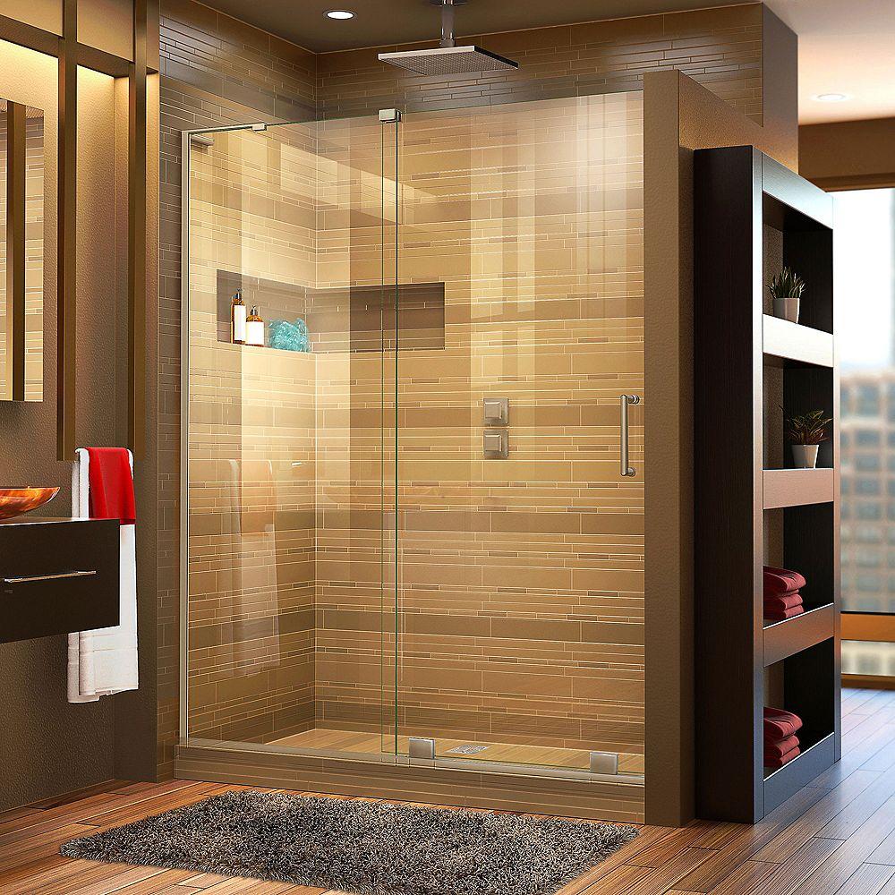 DreamLine Mirage-X 48-inch x 72-inch Frameless Rectangular Sliding Shower Door in Glass with Brushed Nickel
