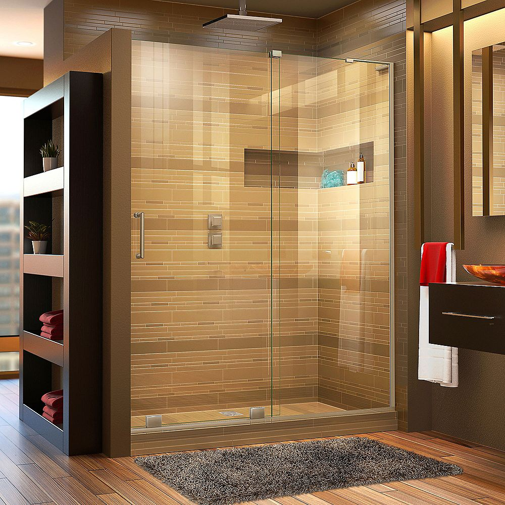 DreamLine Mirage-X 48-inch x 72-inch Frameless Rectangular Sliding Shower Door in Glass with Brushed Nickel