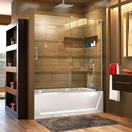 DreamLine Mirage-X 56-inch to 60-inch x 58-inch Semi-Frameless Sliding Tub Door in Chrome