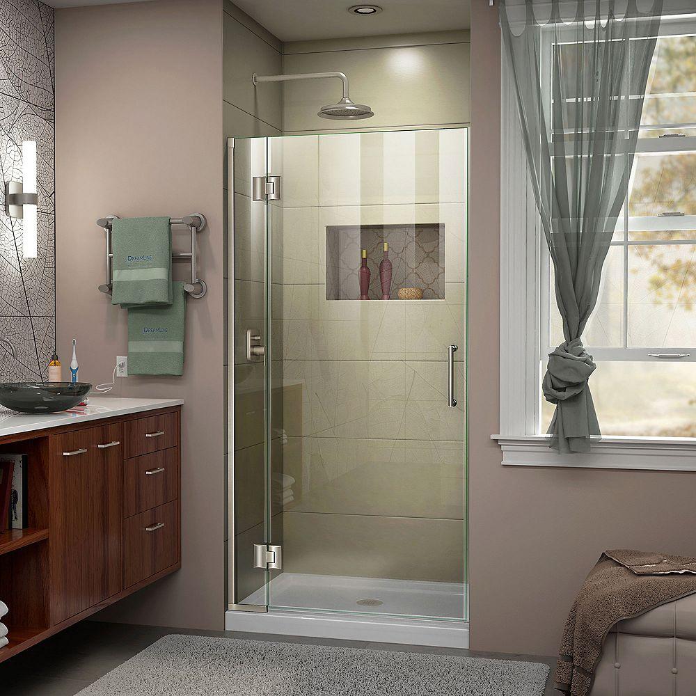DreamLine Porte de douche Articulée sans Cadre Unidoor-X 30 x 72 po. Fini Nickel Brossé