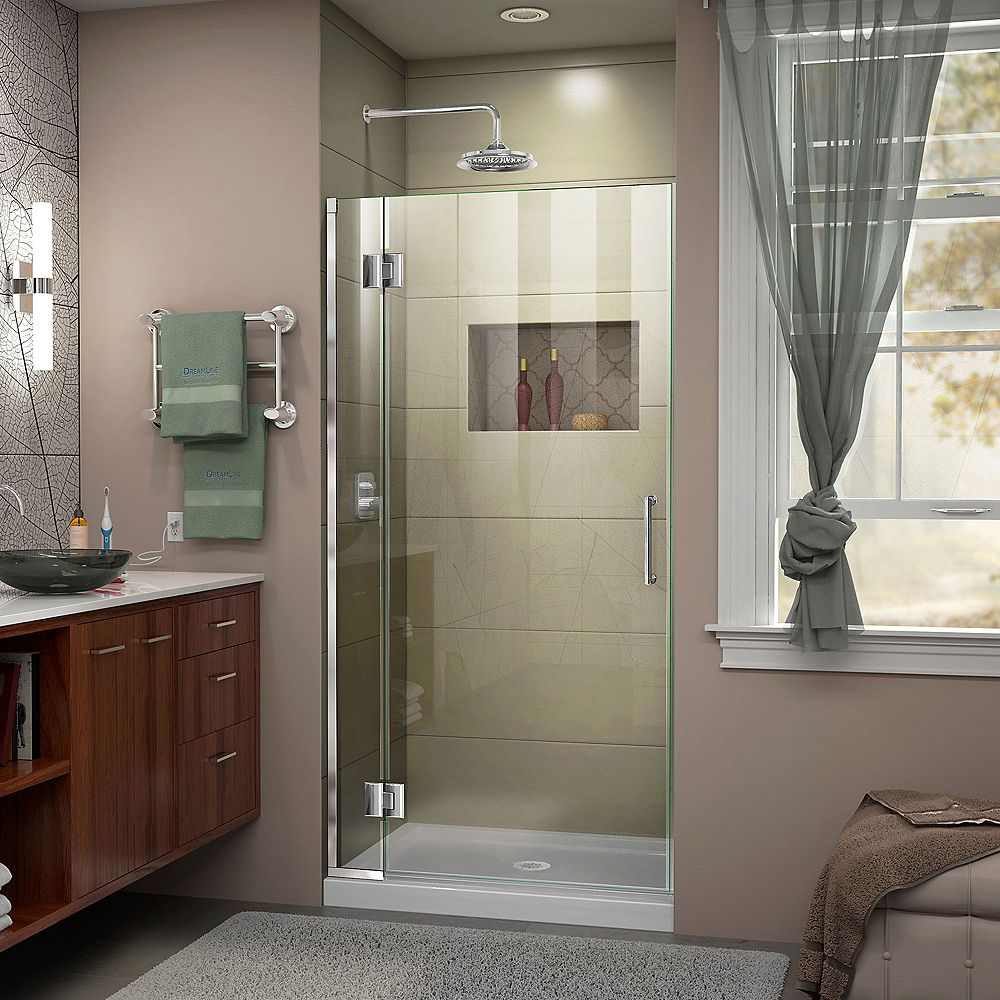 DreamLine Unidoor-X 34-inch x 72-inch Frameless Rectangular Pivot/Hinged Clear Shower Door with Chrome Accents