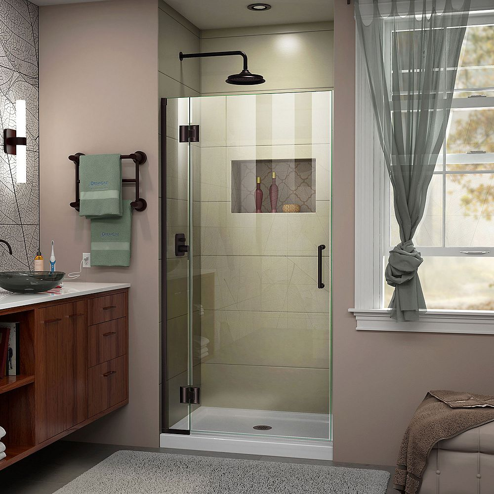 DreamLine Unidoor-X 35-inch x 72-inch Frameless Rectangular Pivot/Hinged Clear Shower Door with Bronze Accents