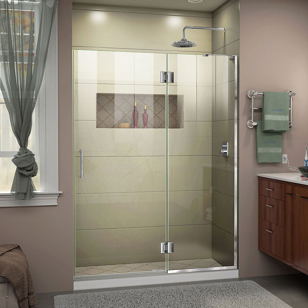 DreamLine Unidoor-X 47-inch x 72-inch Frameless Rectangular Pivot/Hinged Clear Shower Door with Chrome Accents