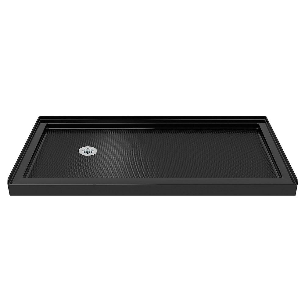 DreamLine SlimLine 30-inch x 60-inch Single Threshold Shower Base in Black colour with Left Hand Drain