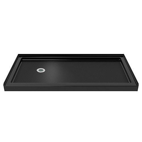 DreamLine SlimLine 32-inch x 60-inch Single Threshold Shower Base in Black colour with Left Hand Drain