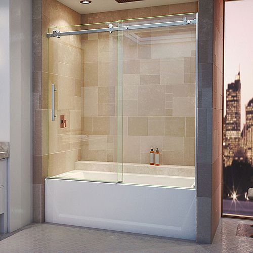 DreamLine Enigma Air 56-inch to 60-inch x 62-inch Frameless Sliding Tub Door in Brushed Stainless Steel
