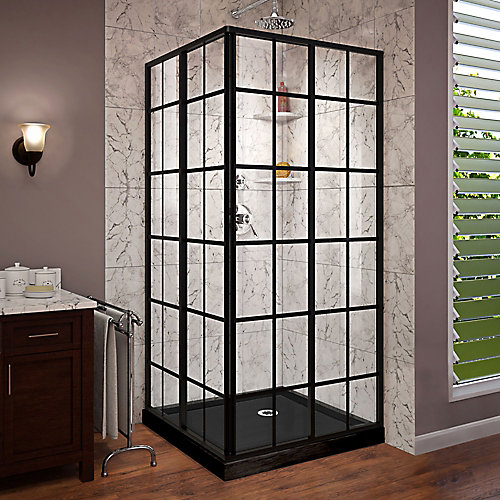 36-inch W x 36-inch D x 74.75-inch H Framed French Corner Shower Enclosure and Base in Satin Black