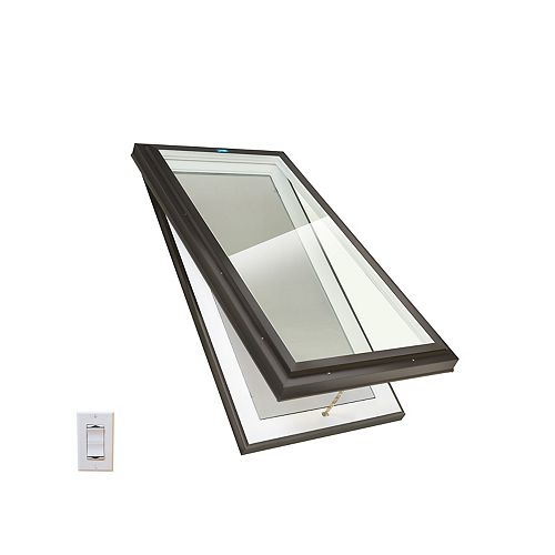 Columbia Skylights 2ft x 4ft Standard Electric Venting Curb Mount Double Glazed Clear Glass Skylight, Brown Frame