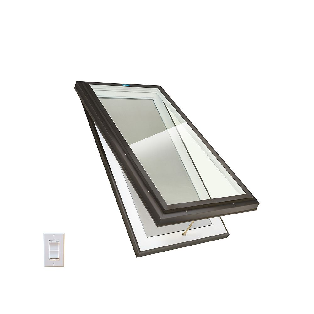 Columbia Skylights 2ft x 4ft Standard Electric Venting Curb Mount Triple Glazed Clear Glass Skylight, Brown Frame