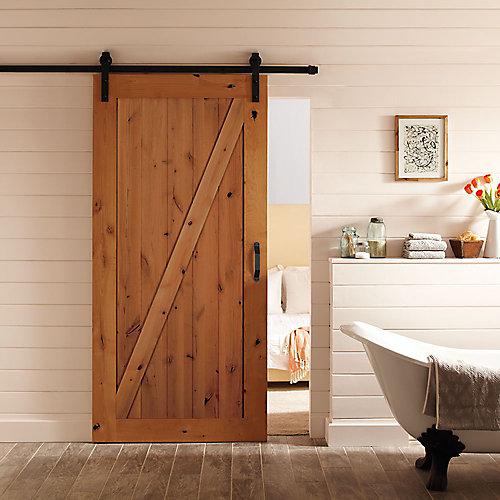 42-inch x 84-inch Z-Bar Knotty Alder Wood Interior Barn Door Slab with Sliding Door Hardware Kit
