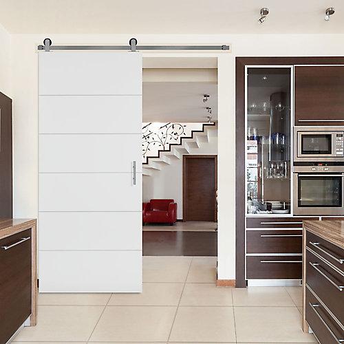 36-inch x 84-inch Melrose Solid Core Primed Interior Barn Door Slab with Sliding Door Hardware Kit