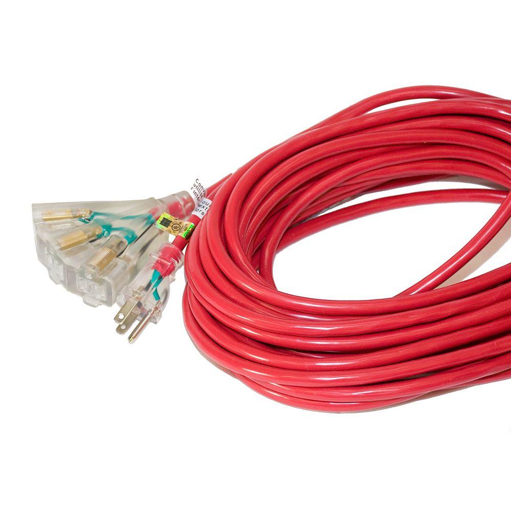 Canada Wire SJTW 14/3 15.2M (50Feet) Triple Lit end - RED