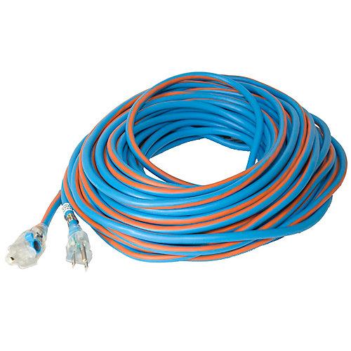 Rallonge avec prise illuminée avec bouchon de verrouillage  SJEOW 14/3   30.4 M (100') - Orange/Bleu