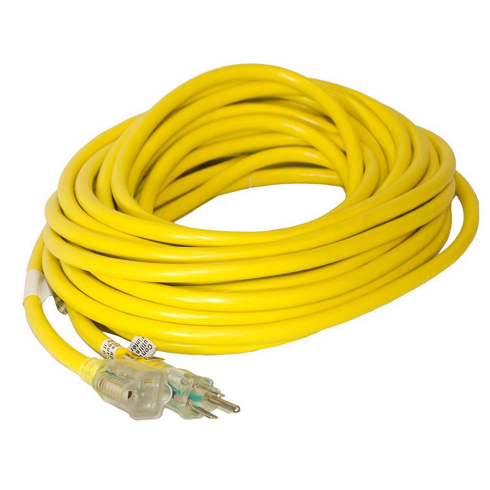 Canada Wire SJTW 12/3 15.2M (50Feet) Single Lit end - YELLOW