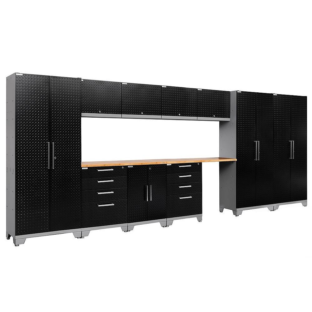 NewAge Products Inc. Performance 2.0 Diamond Plate Storage Cabinets in Black (12-Piece Set)