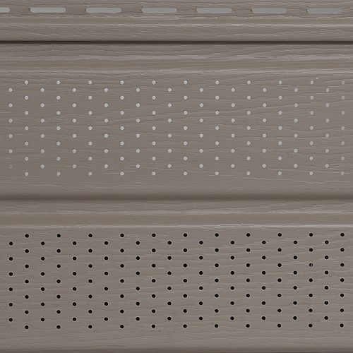 Soffite ventilé, 10 po x 12 pi, vinyle Double 5, fini grain de bois, beige et havane Cobblestone, 20/paq.