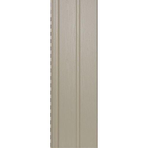 Abtco Soffite robuste ventilé, 10 po x 12 pi, vinyle Double 5, fini grain de bois, blanc cassé Prairie Wheat