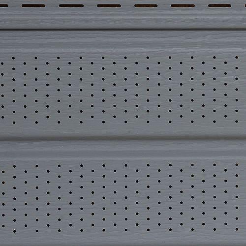 Soffite ventilé, 10 po x 12 pi, vinyle Double 5, fini grain de bois, gris Slate