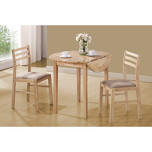 Dining Set - 3-Pieces Set / Natural With A 36 Inch Dia Drop Leaf