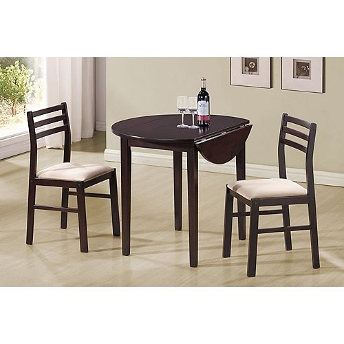 Dining Set - 3-Pieces Set / 36 Inch Dia / Cappuccino W/ Drop Leaf