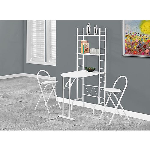 Dining Set - 3-Pieces Set / White Top / White Metal