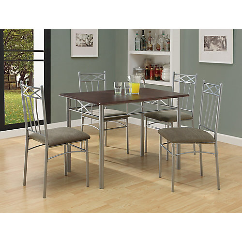 Dining Set - 5-Piece Set / Cappuccino / Silver Metal