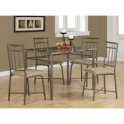 Dining Set - 5-Pieces Set / Cappuccino Marble / Bronze Metal