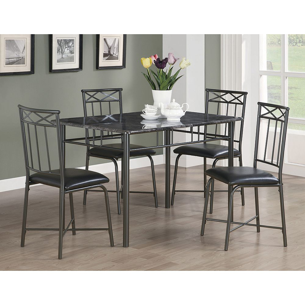 Monarch Specialties Dining Set - 5-Pieces Set / Grey Marble / Charcoal Metal